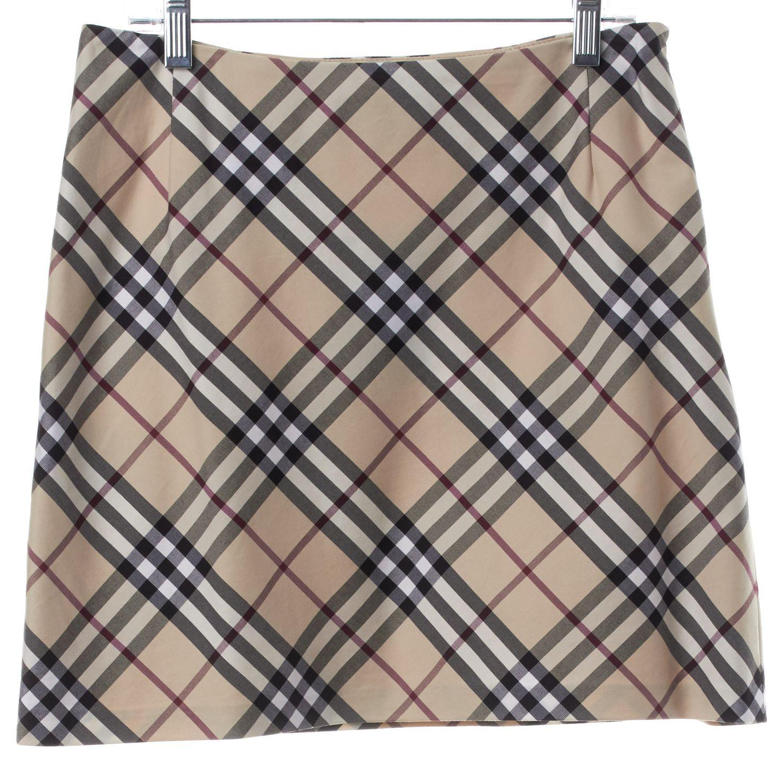 BURBERRY LONDON Beige Black Plaid Mini Skirt