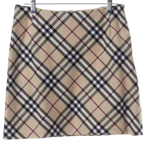 BURBERRY LONDON Beige Black Plaid Mini Skirt