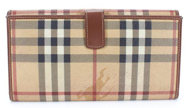 BURBERRY LONDON Brown Beige Haymarket Check Canvas Bi-fold Long Wallet