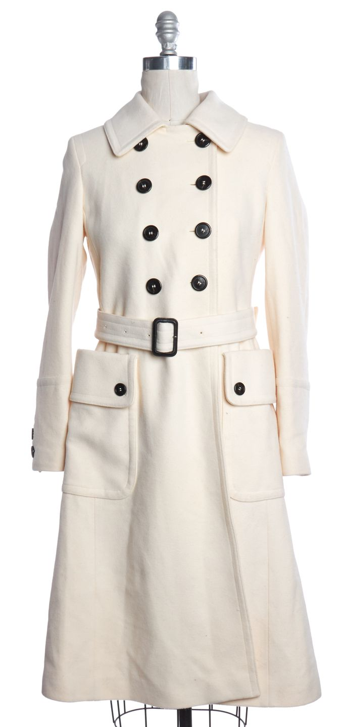 BURBERRY LONDON Ivory Wool Double Breasted Button Coat
