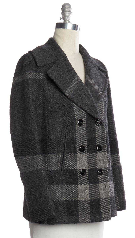 BURBERRY LONDON Gray Plaids Wool Coat