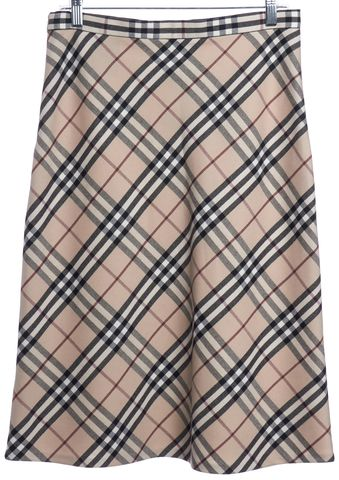 BURBERRY LONDON Beige Plaid Check Wool A-Line Skirt