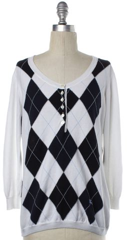 BURBERRY LONDON White Black Argyle Cotton Knit Button Up Sweater