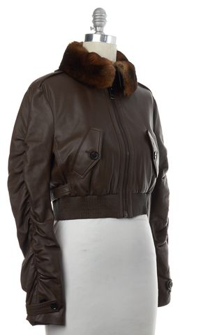 BURBERRY LONDON Brown Lamb Leather Fur Trim Cropped Bomber Jacket