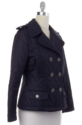 BURBERRY LONDON Navy Blue Check Lined Quilted Double Breasted Basic Jacket