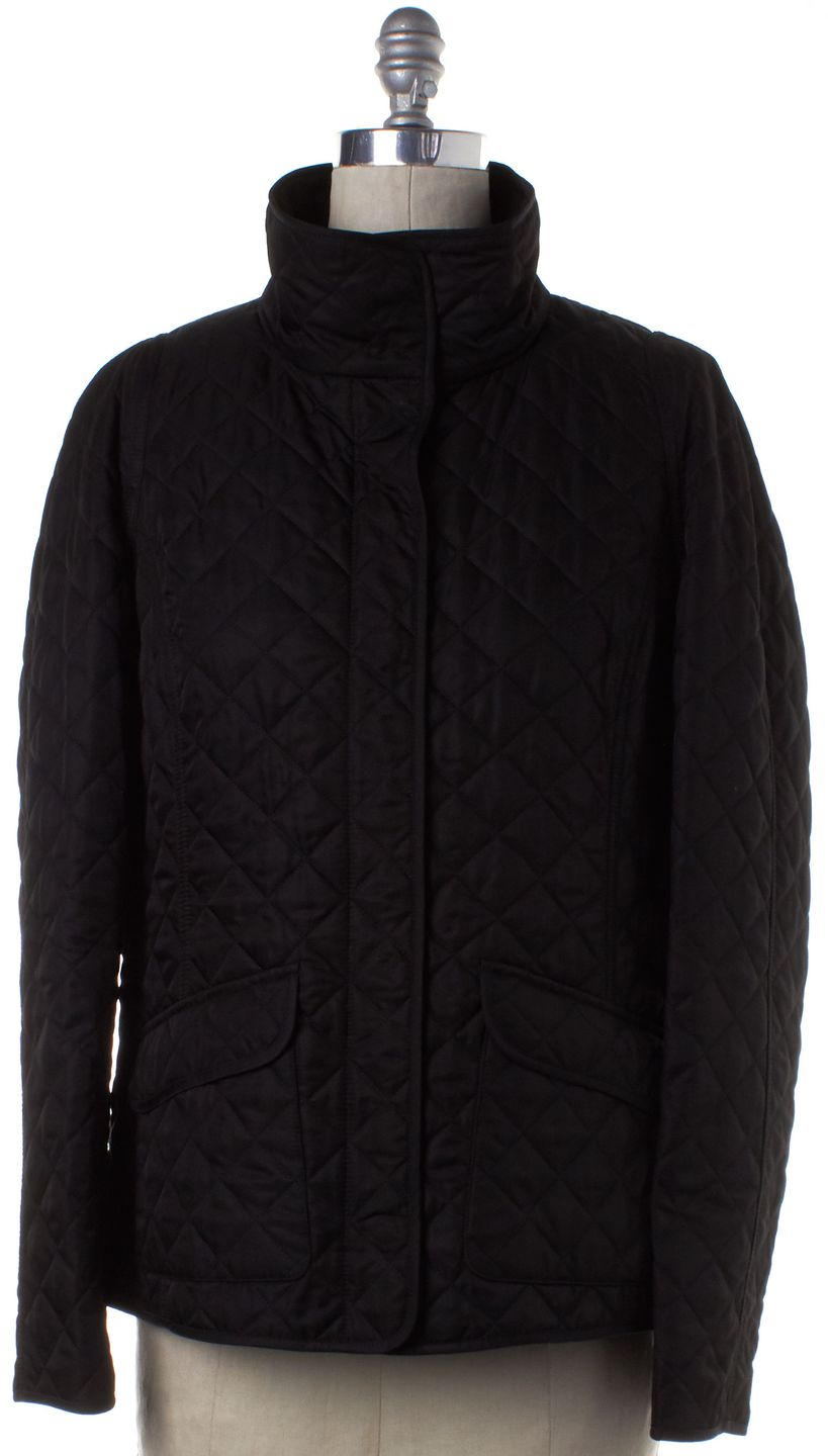BURBERRY LONDON Black Quilted Zip Up Snap Button Down Jacket