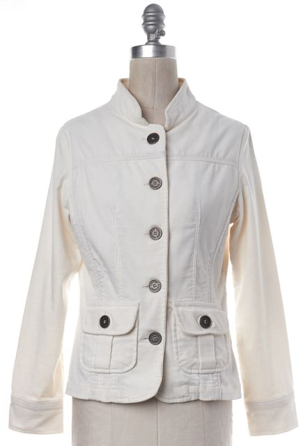 BURBERRY LONDON Ivory Cotton Corduroy Button Up Collarless Jacket