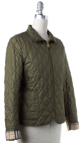 BURBERRY LONDON Green Check Lined Quilted Zip Up Basic Jacket