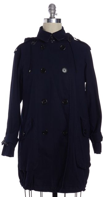 BURBERRY LONDON Navy Blue Canvas Check Lined Hooded Trench Coat