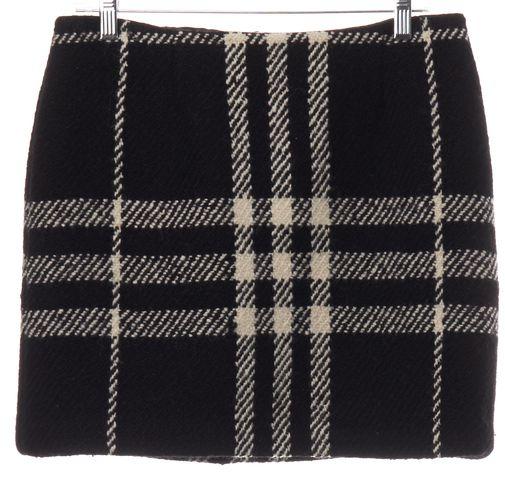BURBERRY LONDON Black White Check Wool Knit Skirt