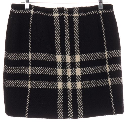 BURBERRY LONDON Black White Check Wool Knit Skirt