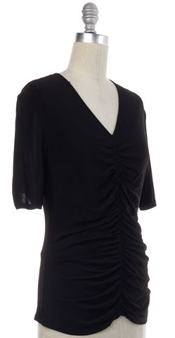 BURBERRY LONDON Black V-Neck Blouse