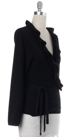 BURBERRY LONDON Black Long Sleeve Ruffle Trim Waist Tie Knit Wrap Top