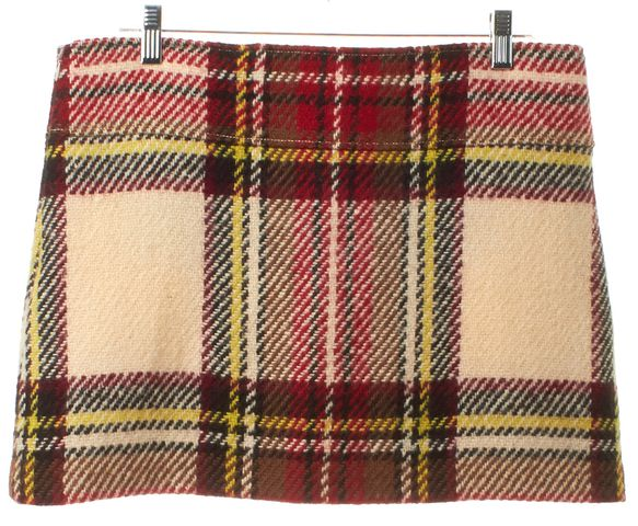 BURBERRY LONDON Ivory Red Plaids Wool Knit Mini Skirt
