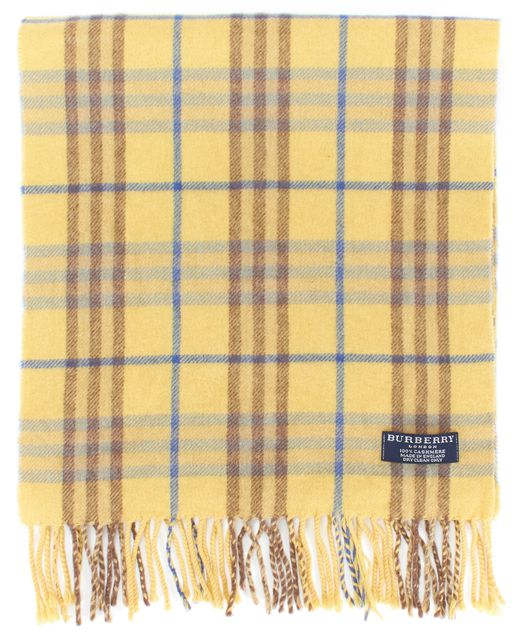 BURBERRY LONDON Yellow Plaids Cashmere Fringe Long Scarf