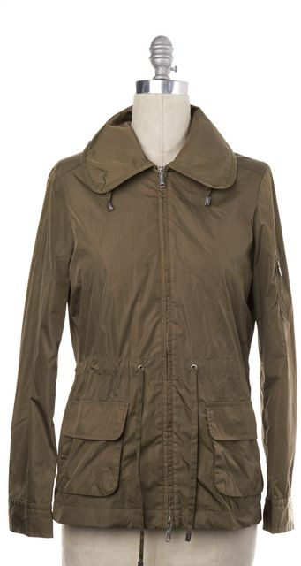 BURBERRY LONDON Olive Green Drawstring Waist Hooded Jacket