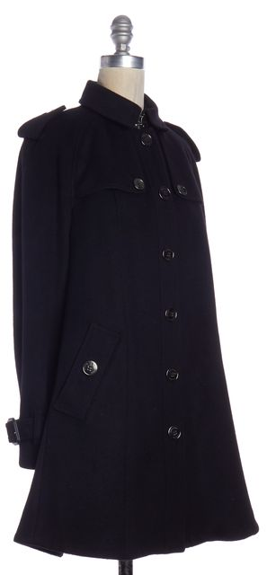 BURBERRY LONDON Black Wool Button Down Coat