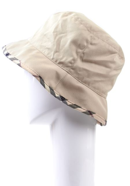 BURBERRY LONDON Beige Canvas House Check Trim Bucket Hat
