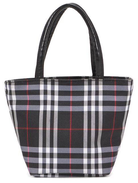 BURBERRY LONDON Black White Red Nylon House Check Mini Top Handle Bag