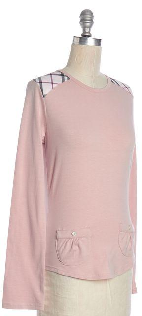 BURBERRY LONDON Pink Plaid Panel Long Sleeve Pocketed Basic Tee Top