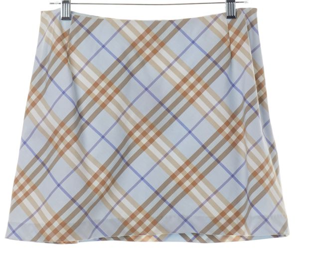 BURBERRY LONDON Light Blue Beige Nova Check Mini Skirt Fits Like a 8