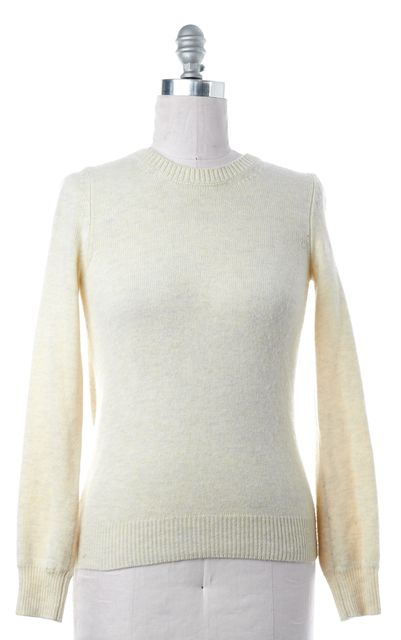 BURBERRY LONDON Ivory Crewneck Back Pleat Sweater