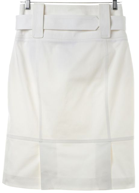 BURBERRY LONDON White Belted Pencil Skirt