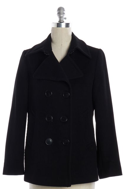 BURBERRY LONDON Black Wool Cashmere Peacoat