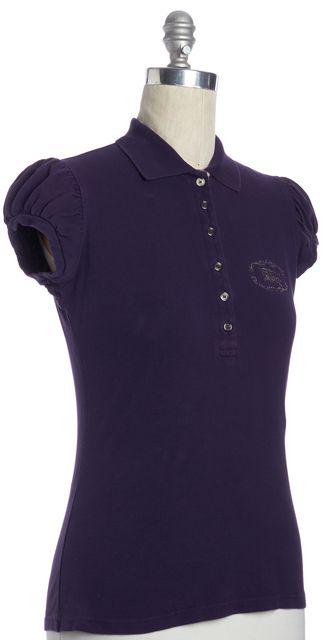 BURBERRY LONDON Purple Embellished Logo Polo Top Shirt