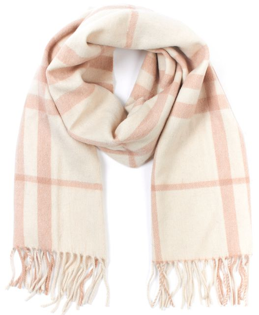 BURBERRY LONDON Beige Cashmere House Check Long Scarf