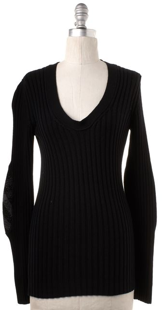 BURBERRY LONDON Black Ribbed Wool Scoop Neck Sweater