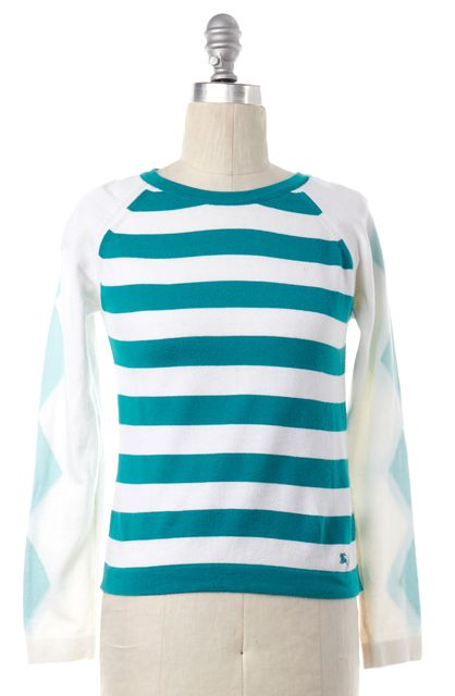 BURBERRY LONDON White Green Striped Knit Top