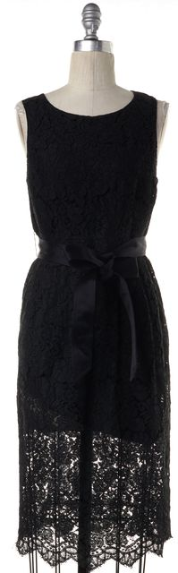 BURBERRY LONDON Black Cotton Lace Satin Belt Sleeveless Sheath Dress