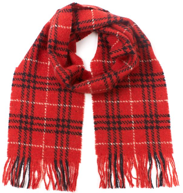 BURBERRY LONDON Red Black House Check Wool Blend Long Fringe Scarf