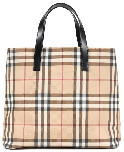 BURBERRY LONDON Beige Nova Check Top Handle Tote Bag