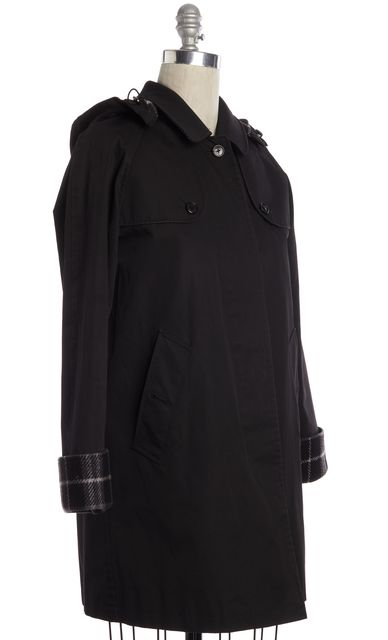 BURBERRY LONDON Black Plaid Lining Trench Coat