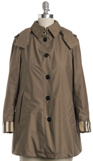 BURBERRY LONDON Khaki Beige Wool Lining Coat