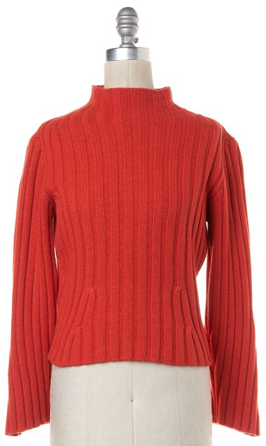 BURBERRY LONDON Orange Wool Rib Knit Turtleneck Sweater