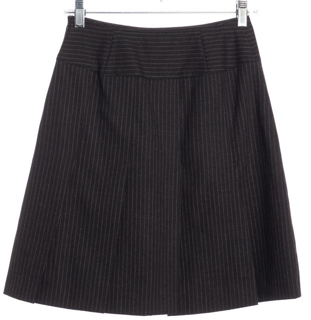 BURBERRY LONDON Gray Pinstriped Wool Pleated A-Line Skirt