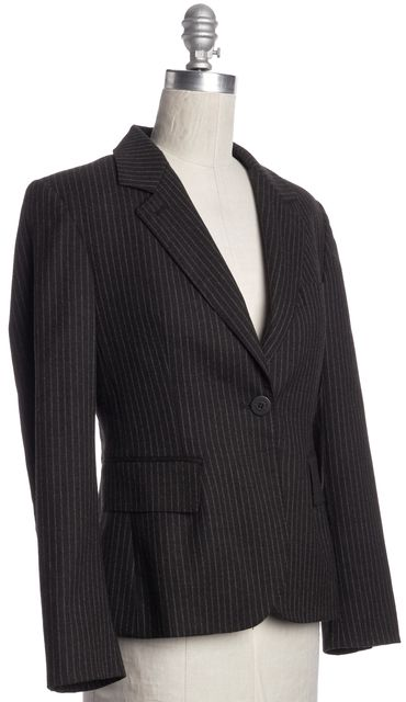 BURBERRY LONDON Brown Striped Wool Blazer Jacket