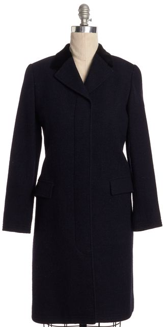 BURBERRY LONDON Navy Blue Houndstooth Wool Peacoat With Velvet Collar