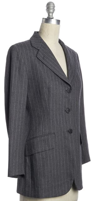BURBERRY LONDON Gray Striped Classic Casual Career Wool Long Blazer