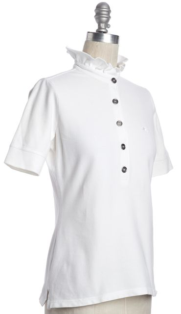 BURBERRY LONDON White Polo Shirt Ruffle Collar Top