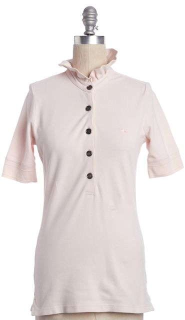 BURBERRY LONDON Pink Ruffled Neck Polo Shirt Top