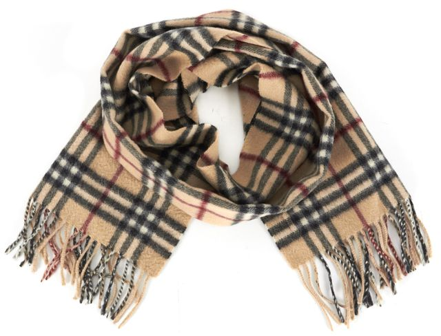 BURBERRY LONDON Beige House Check Cashmere Fringe Trim Winter Scarf