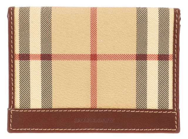 BURBERRY LONDON Beige Haymarket Check Bi-Fold Card Holder