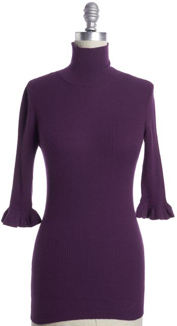 BURBERRY LONDON Purple Cashmere Casual Ruffle Sleeve Turtleneck Sweater