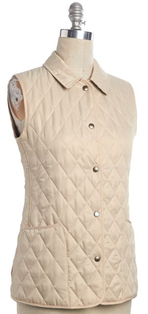 BURBERRY LONDON Light Beige Quilted Snap Button Check Lined Vest W Pockets