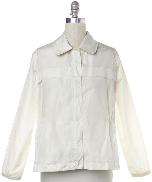 BURBERRY LONDON White Collared Windbreaker Jacket