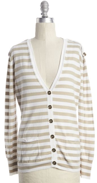 BURBERRY LONDON Beige White Striped Knit V-Neck Cardigan Sweater
